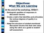 objectives what we are learning