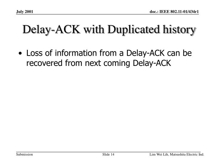 Delay-ACK with Duplicated history