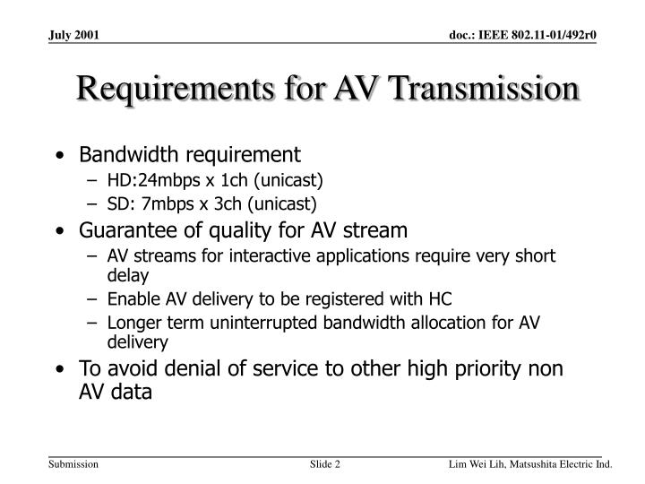 Requirements for av transmission