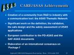 care asas achievements