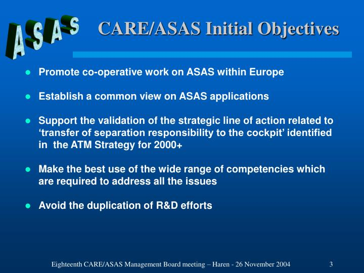 CARE/ASAS Initial Objectives