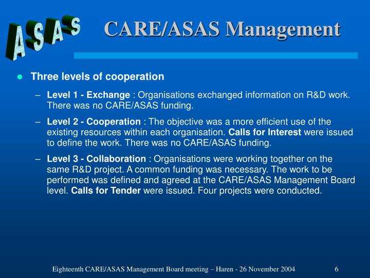 CARE/ASAS Management