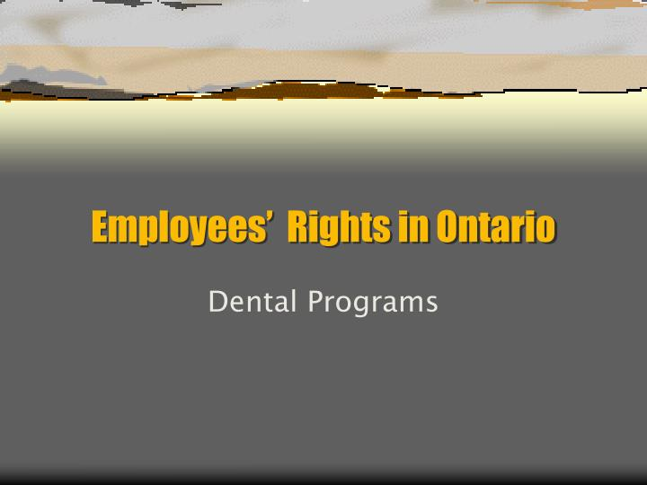 Employees rights in ontario
