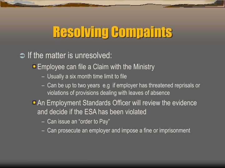 Resolving Compaints