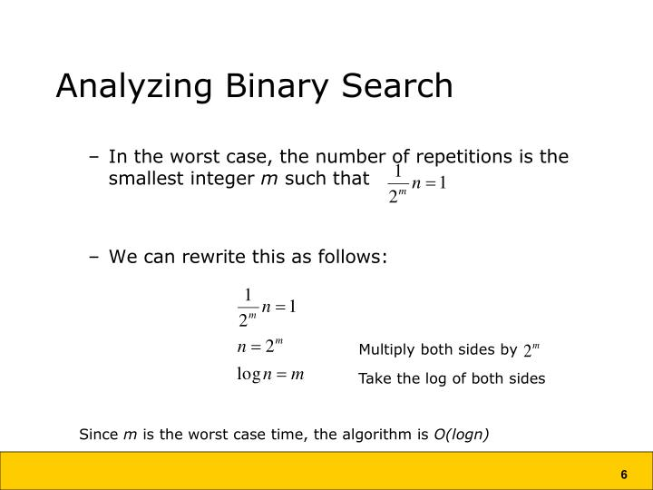 Analyzing Binary Search