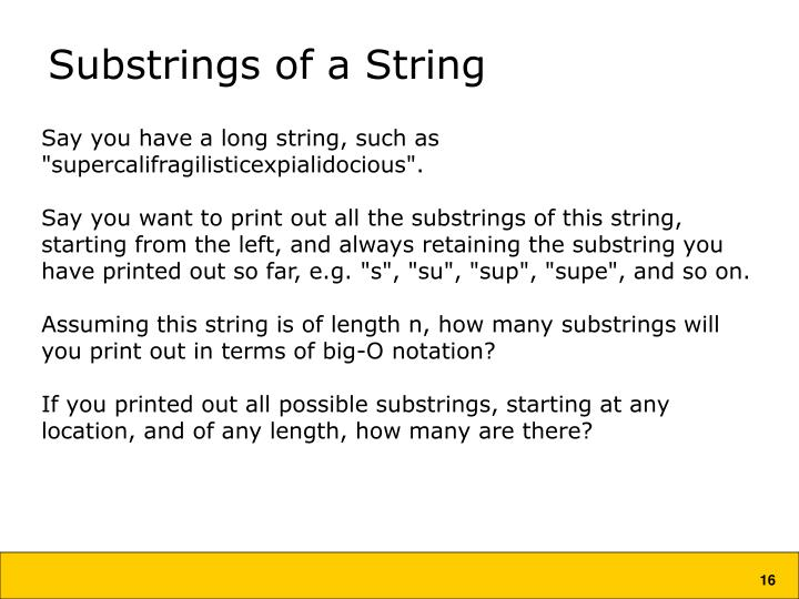 Substrings of a String