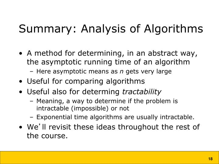 Summary: Analysis of Algorithms