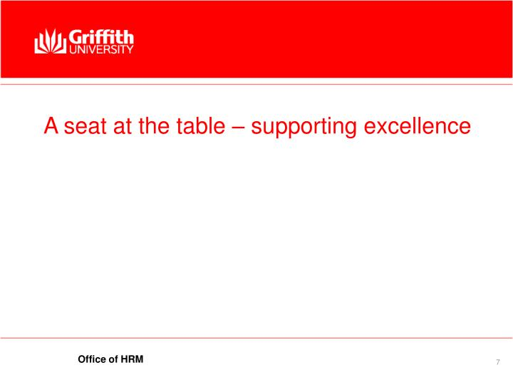 A seat at the table – supporting excellence