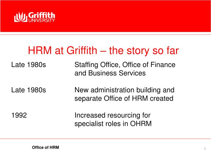 Hrm at griffith the story so far