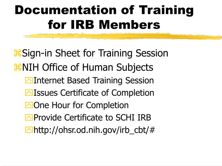 Documentation of Training for IRB Members