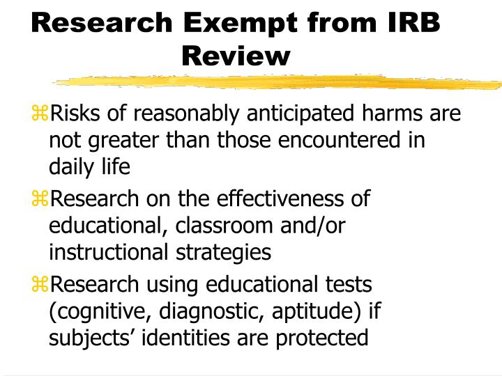 Research Exempt from IRB Review
