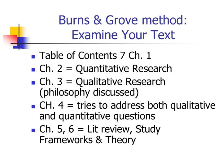 Burns & Grove method: