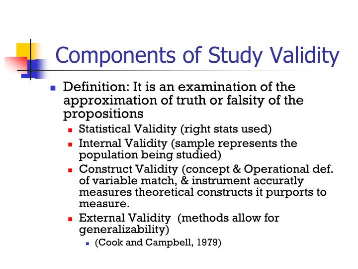 Components of Study Validity