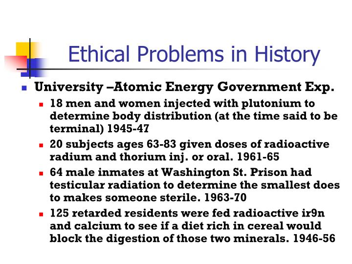 Ethical Problems in History
