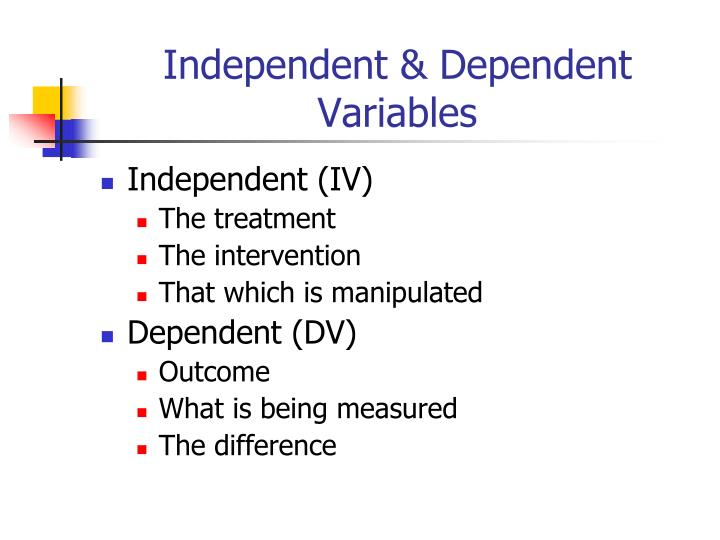 Independent & Dependent Variables
