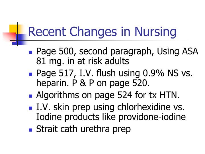 Recent Changes in Nursing