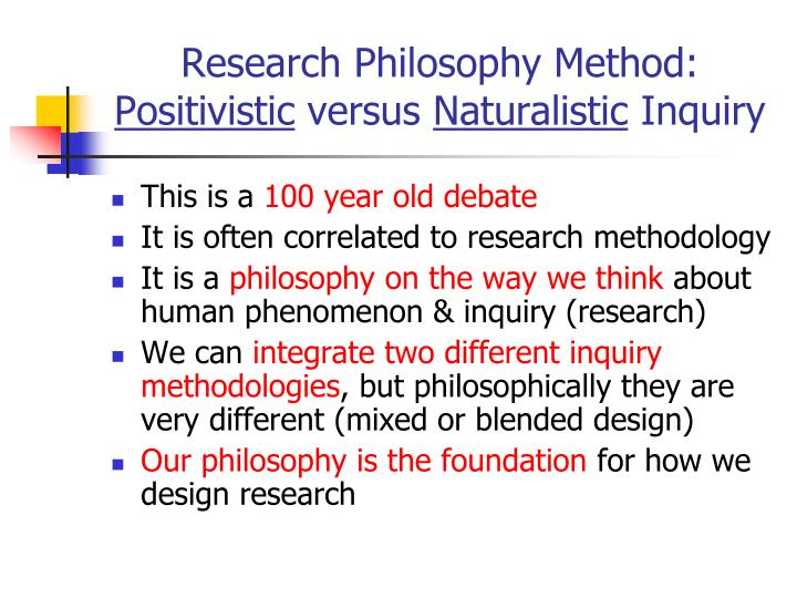Research Philosophy Method: