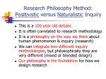 research philosophy method positivistic versus naturalistic inquiry