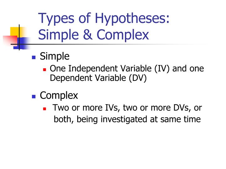 Types of Hypotheses: