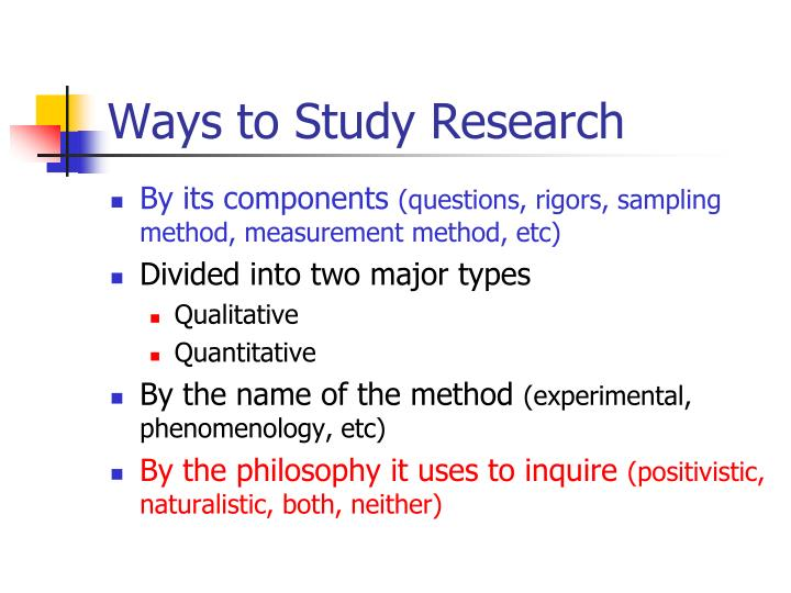 Ways to Study Research