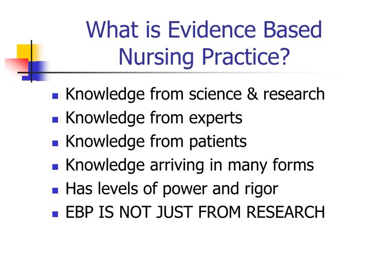 What is Evidence Based Nursing Practice?