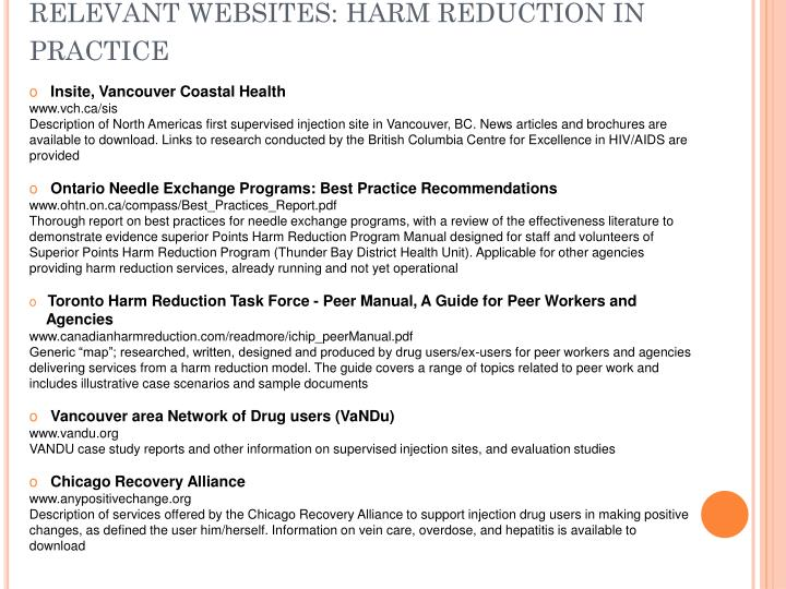 RELEVANT WEBSITES: HARM REDUCTION IN PRACTICE