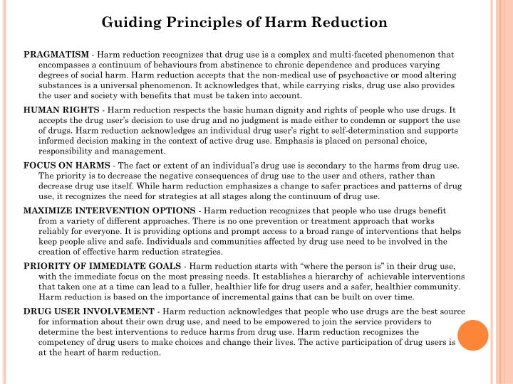 Guiding Principles of Harm Reduction