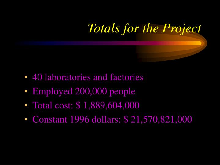 Totals for the Project