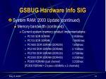 gsbug hardware info sig11