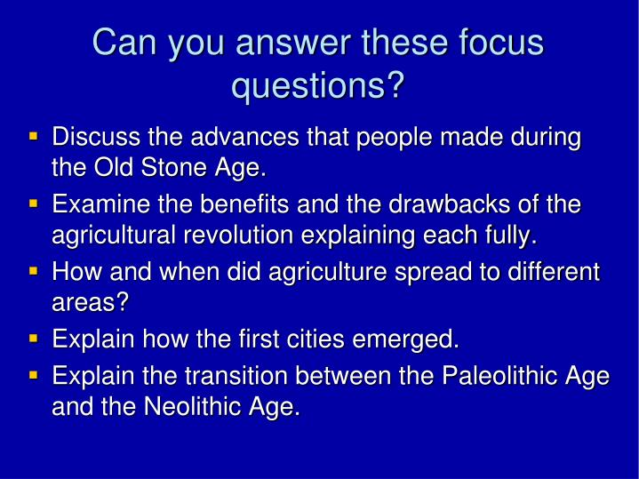 Can you answer these focus questions?