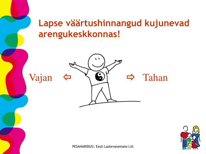 Lapse väärtushinnangud kujunevad arengukeskkonnas