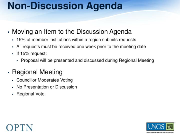 Non-Discussion Agenda