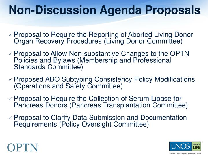 Non-Discussion Agenda Proposals
