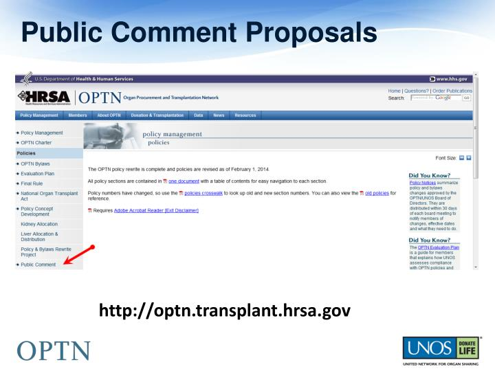Public Comment Proposals
