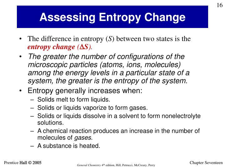 Assessing Entropy Change