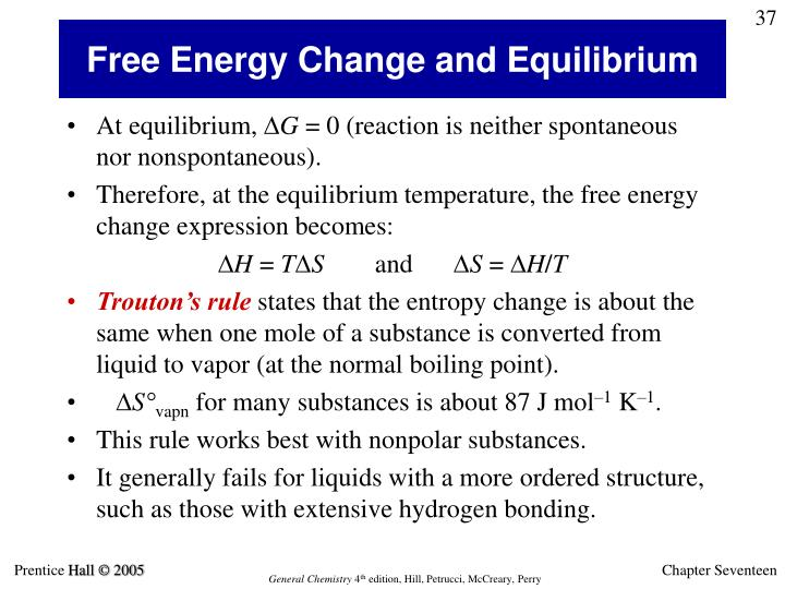 Free Energy Change and Equilibrium