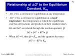 relationship of d g to the equilibrium constant k eq