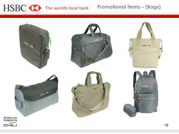 Promotional items – (Bags)