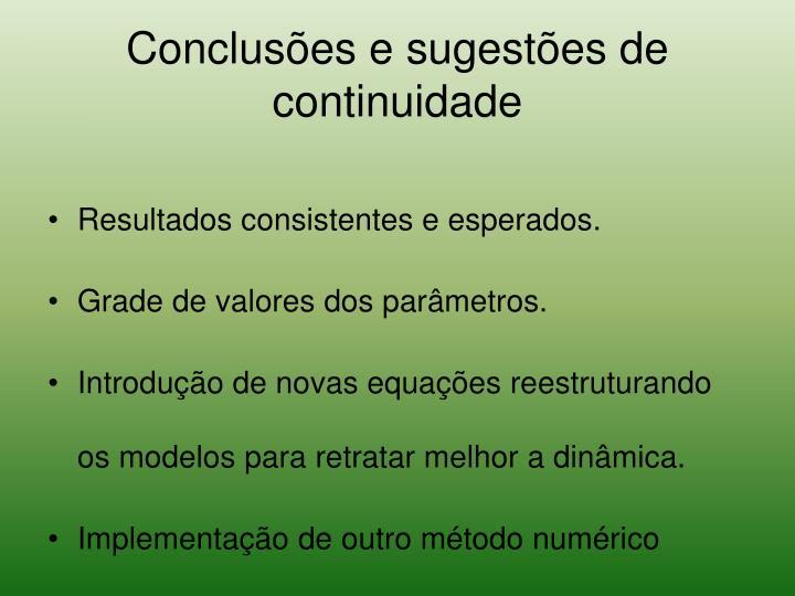 Conclusões e sugestões de continuidade