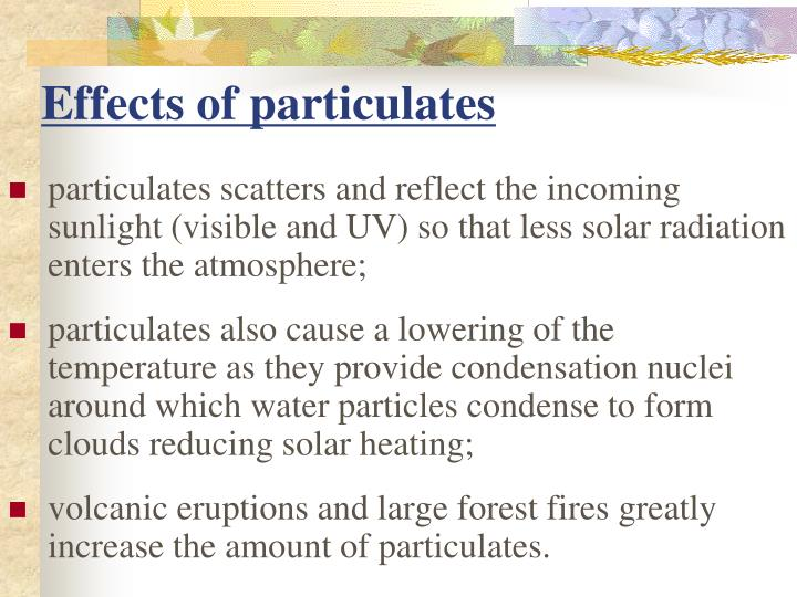 Effects of particulates