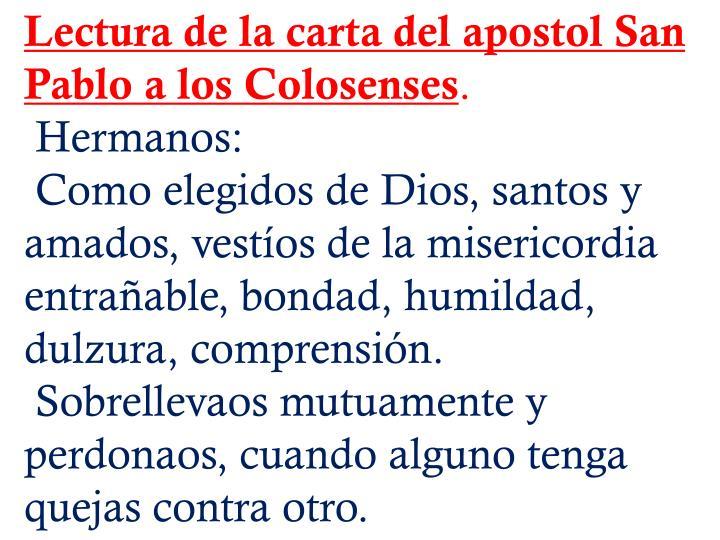 Lectura de la carta del apostol San Pablo a los Colosenses
