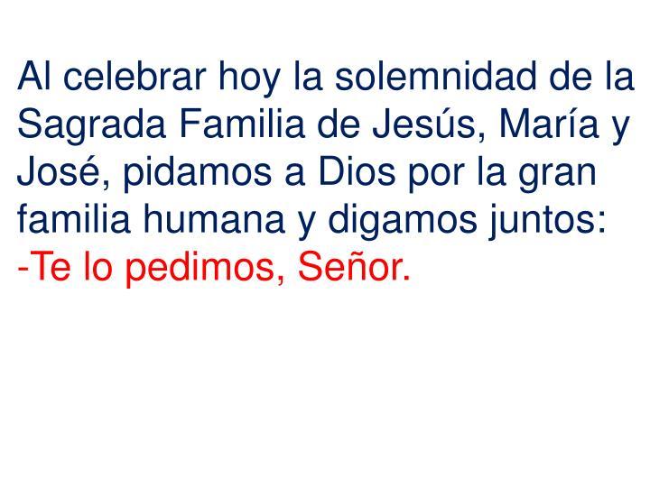 Al celebrar hoy la solemnidad de la Sagrada Familia de Jesús, María y José, pidamos a Dios por la gran familia humana y digamos juntos: