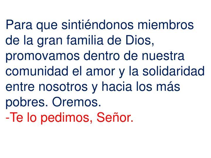 Para que sintiéndonos miembros de la gran familia de Dios, promovamos dentro de nuestra comunidad el amor y la solidaridad entre nosotros y hacia los más pobres. Oremos.