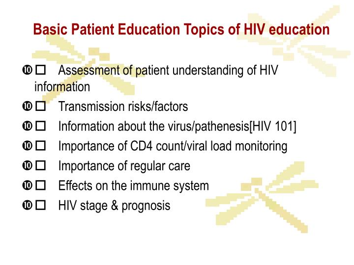 Basic Patient Education Topics of HIV education