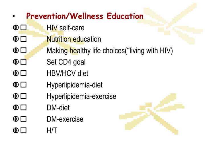 Prevention/Wellness Education
