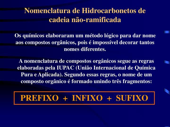 Nomenclatura de Hidrocarbonetos de cadeia não-ramificada
