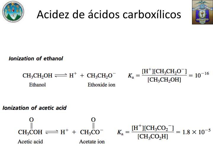 Acidez de ácidos carboxílicos
