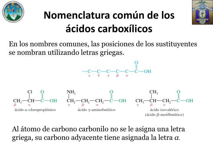 Nomenclatura común de los ácidos carboxílicos