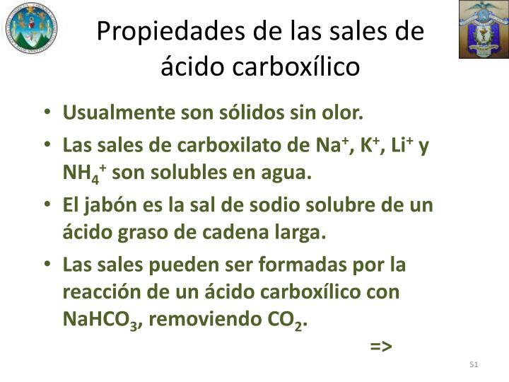 Propiedades de las sales de ácido carboxílico