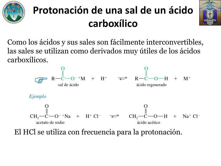 Protonación de una sal de un ácido carboxílico